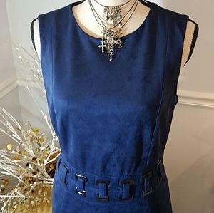 STUNNING Antonio Melani Blue Suedelike Dress, sz 8